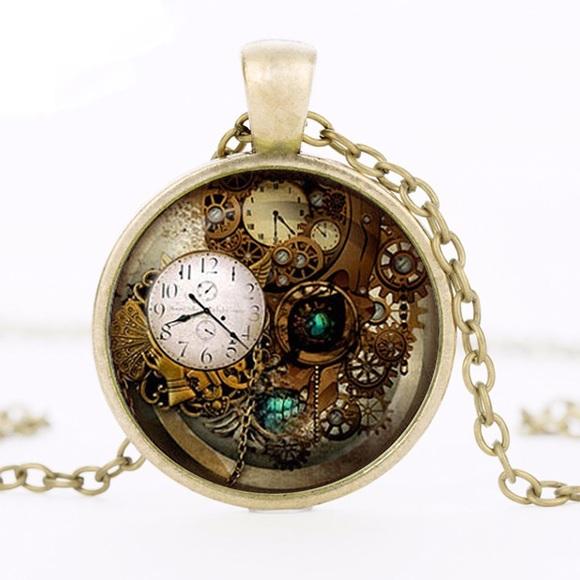 818071210f870 Steampunk Clock Pendant with Bronze Chain Boutique